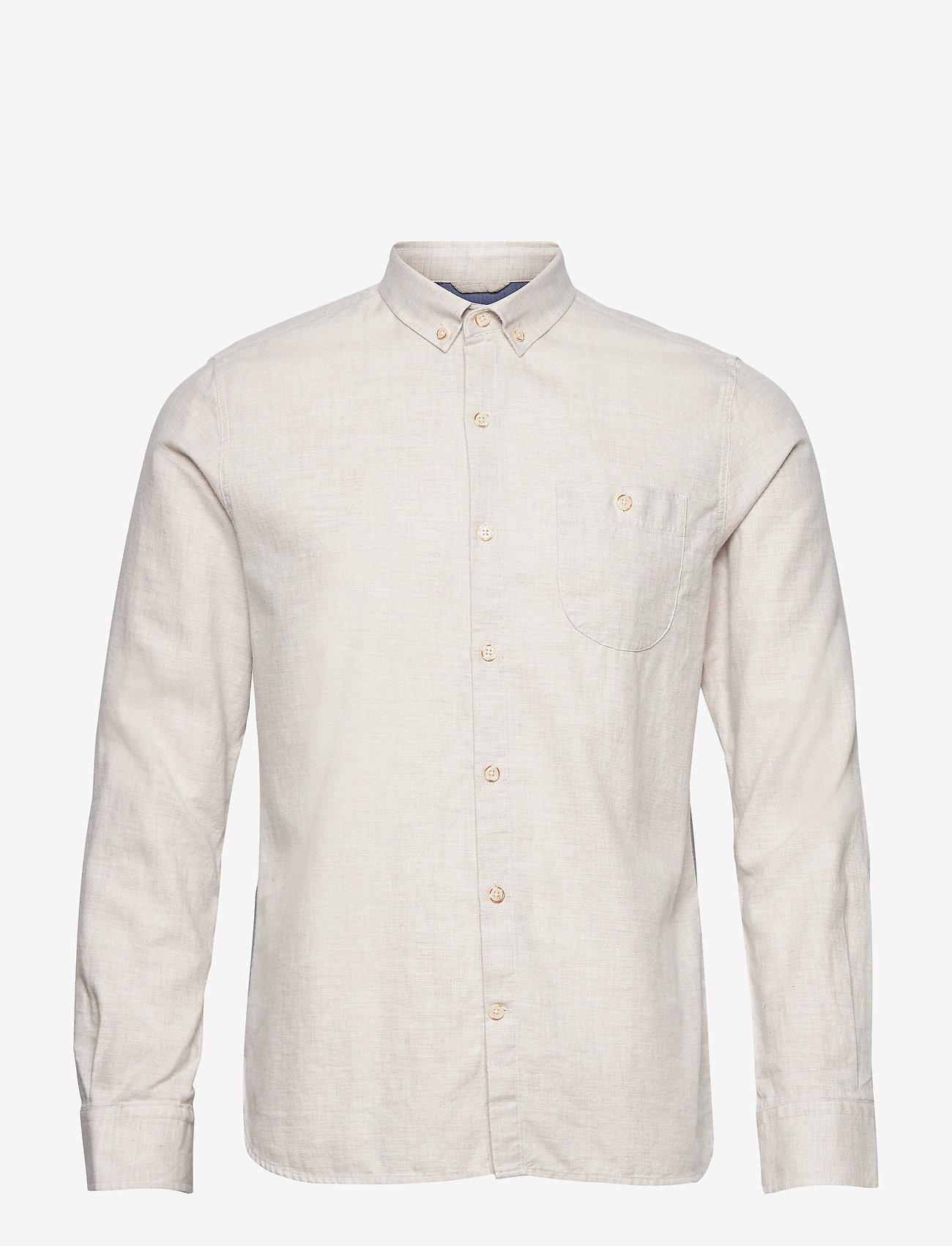 Knowledge Cotton Apparel - ELDER regular fit melange flannel s - lina krekli - greige - 0