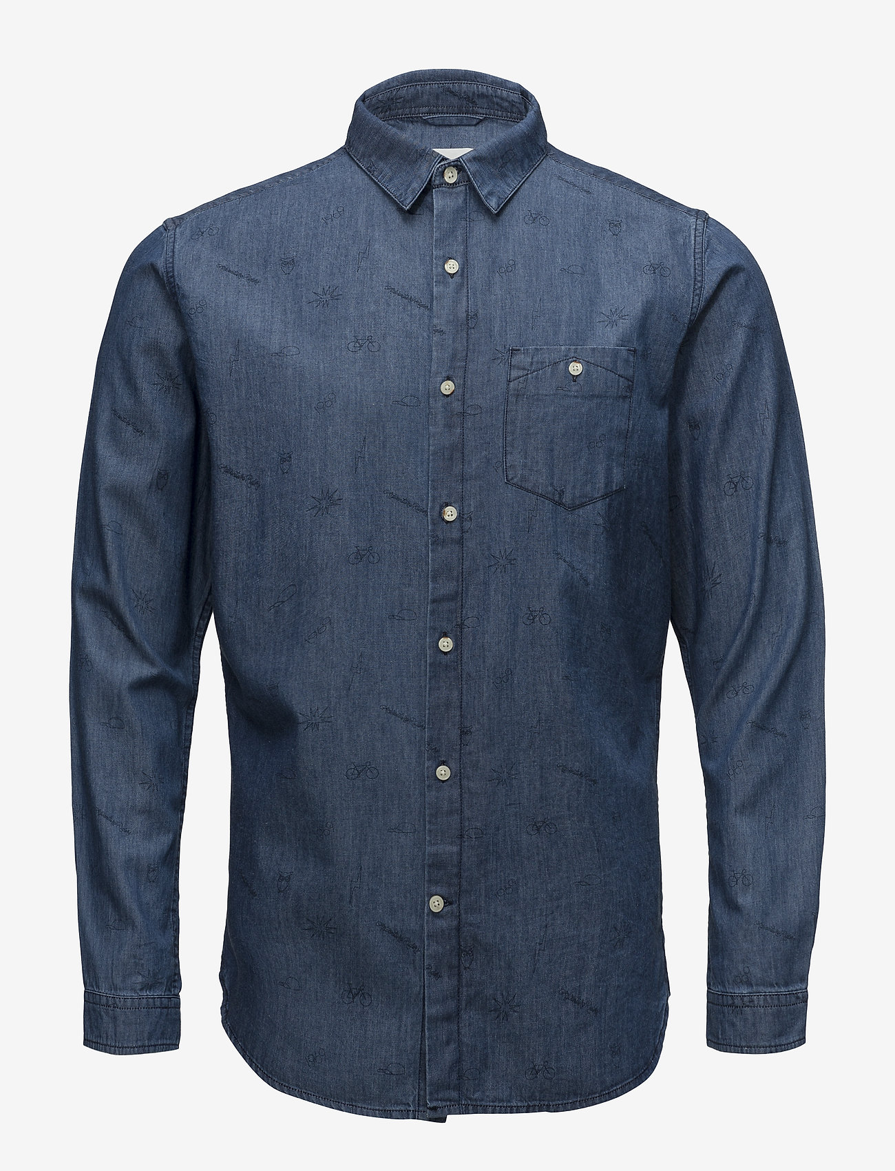 Knowledge Cotton Apparel - Denim shirt with concept print - GO - denim shirts - deep sea