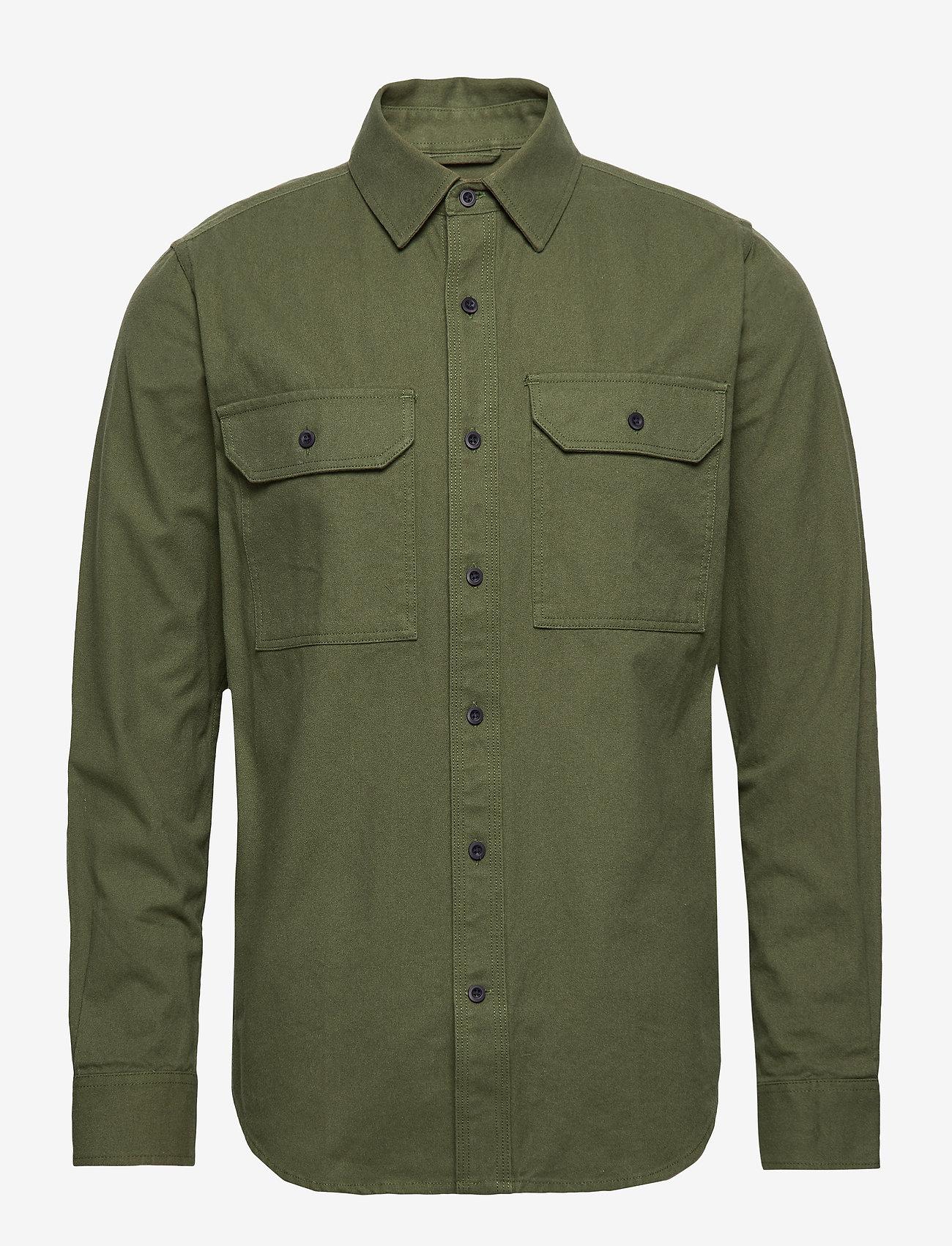 Knowledge Cotton Apparel - Long sleeve moleskin shirt - GOTS/V - podstawowe koszulki - green forest - 0