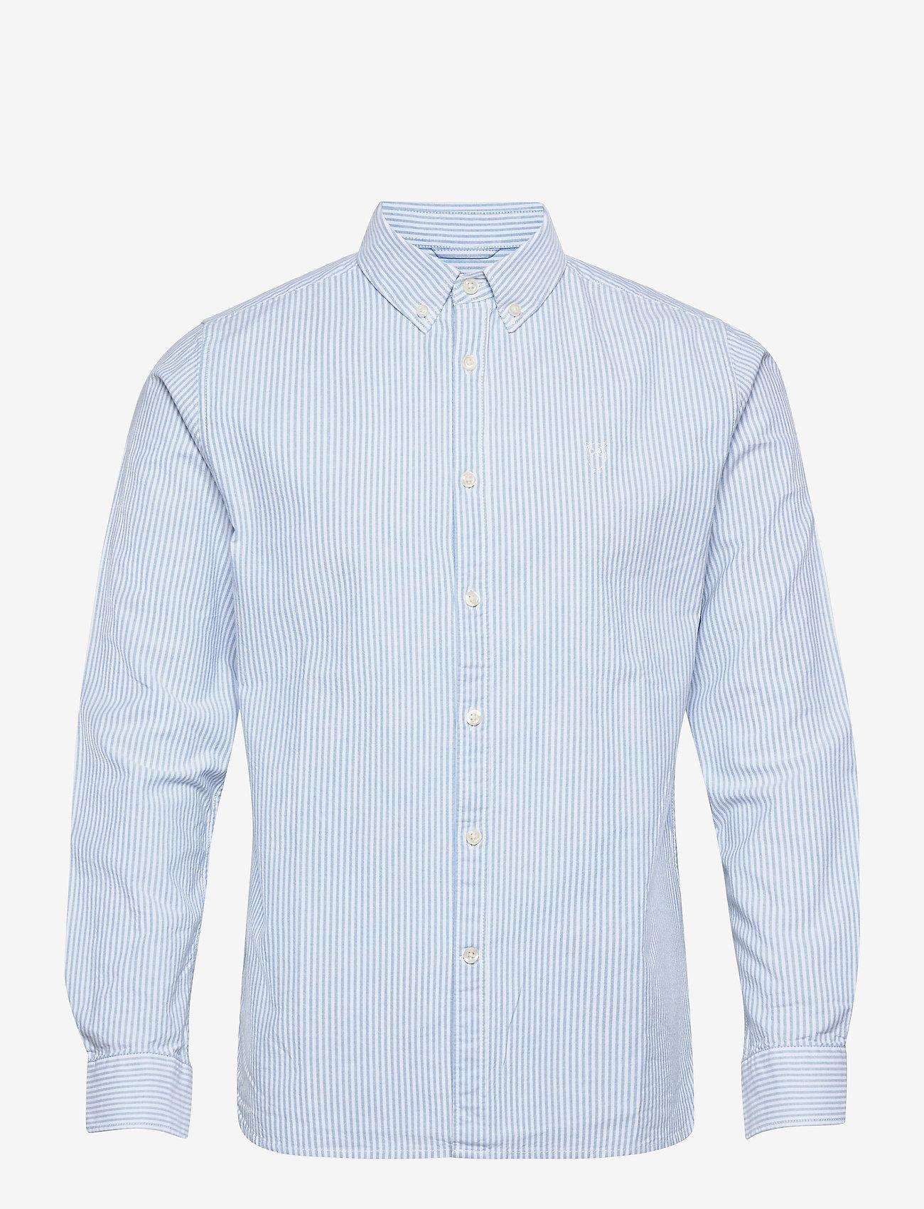 Knowledge Cotton Apparel - ELDER regular fit owl striped oxfor - linnen overhemden - lapis blue - 0
