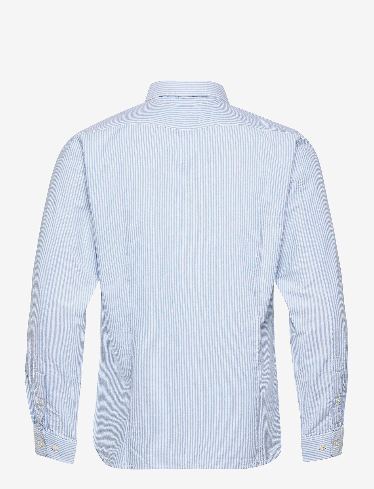 Knowledge Cotton Apparel - ELDER regular fit owl striped oxfor - linnen overhemden - lapis blue - 1