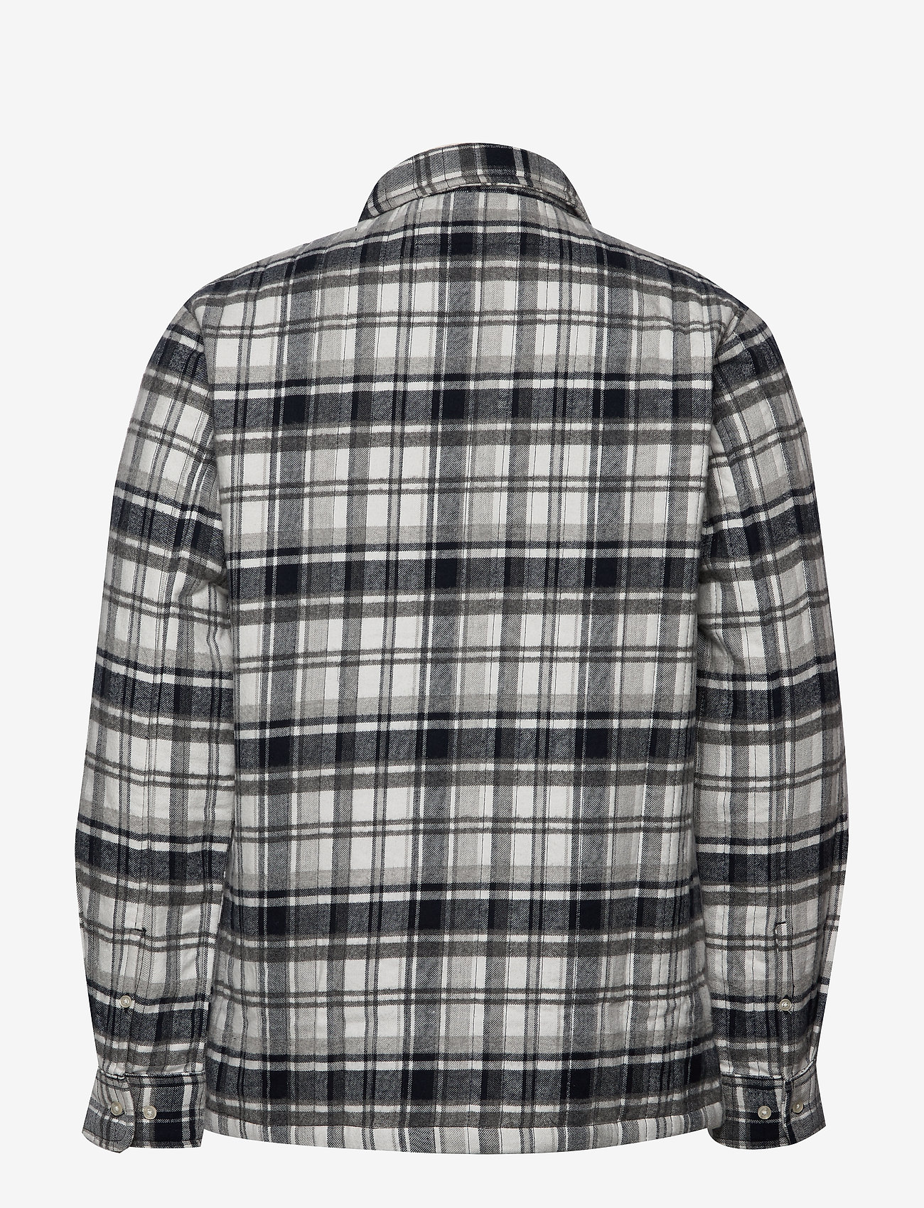 Knowledge Cotton Apparel - Quilted checked fannel overshirt - - overshirts - dark grey melange - 1