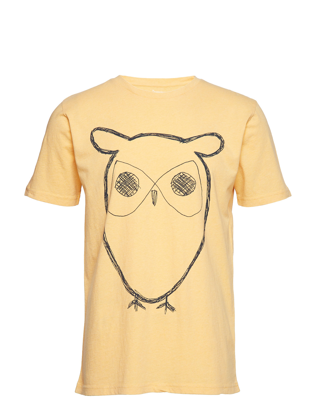 Knowledge Cotton Apparel Single Jersey With Owl Print - GOTS - BANANA MELANGE