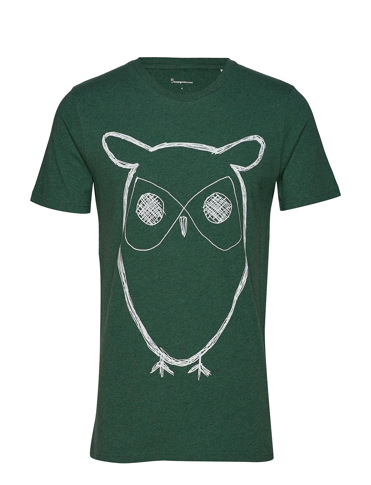 Knowledge Cotton Apparel ALDER big owl tee - GOTS/Vegan - BLACK FORREST MELANGE