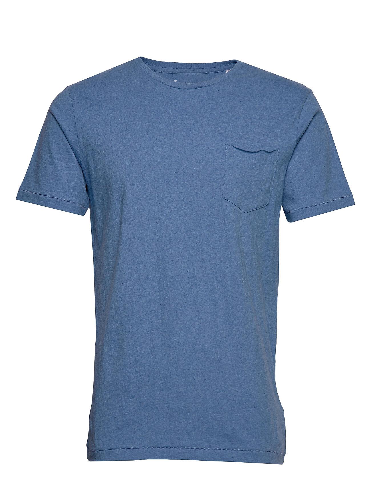 Knowledge Cotton Apparel ALDER basic chest pocket tee - GOTS - LIGHT BLUE MELANGE