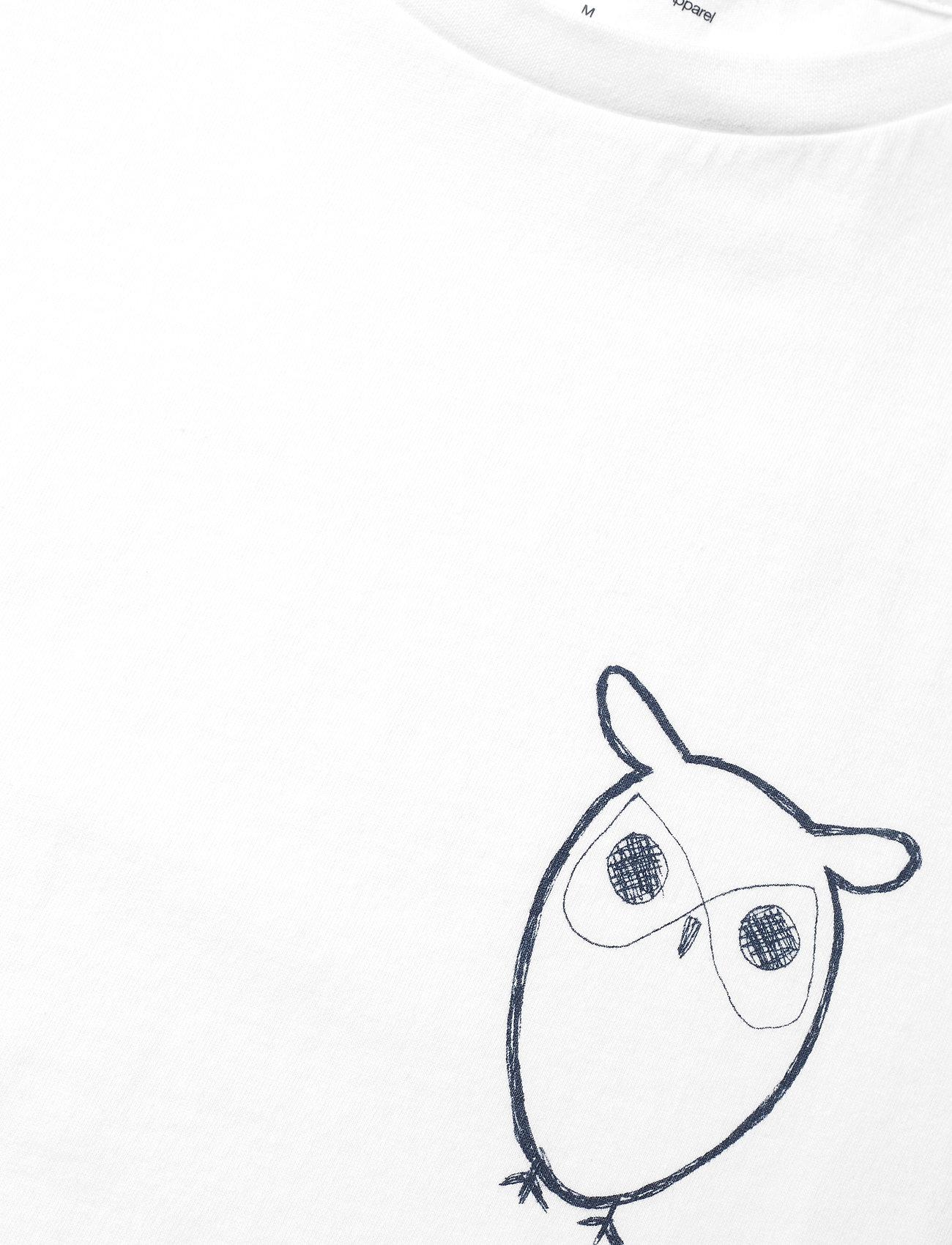 Knowledge Cotton Apparel ALDER owl chest tee - GOTS/Vegan - T-skjorter BRIGHT WHITE - Menn Klær
