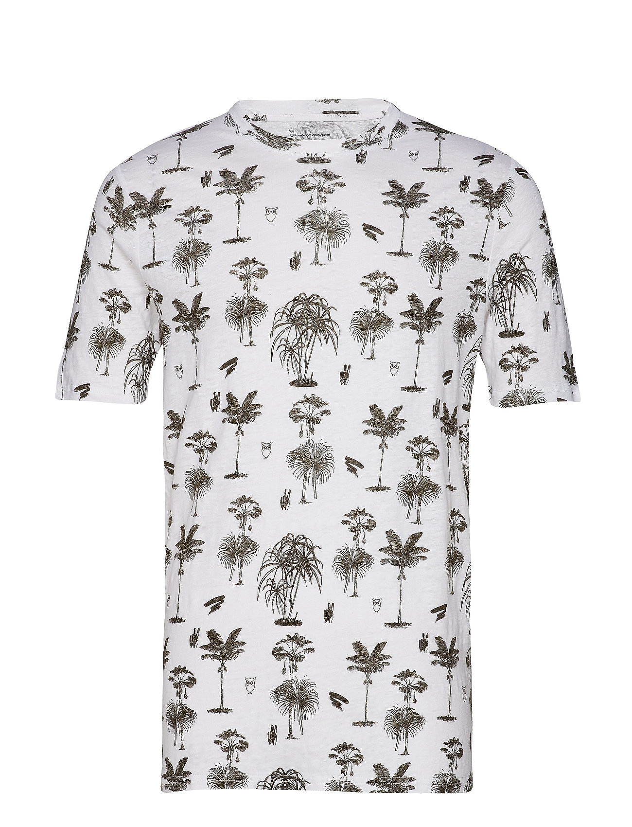 Knowledge Cotton Apparel T-shirt with palm print - GOTS - FORREST NIGHT
