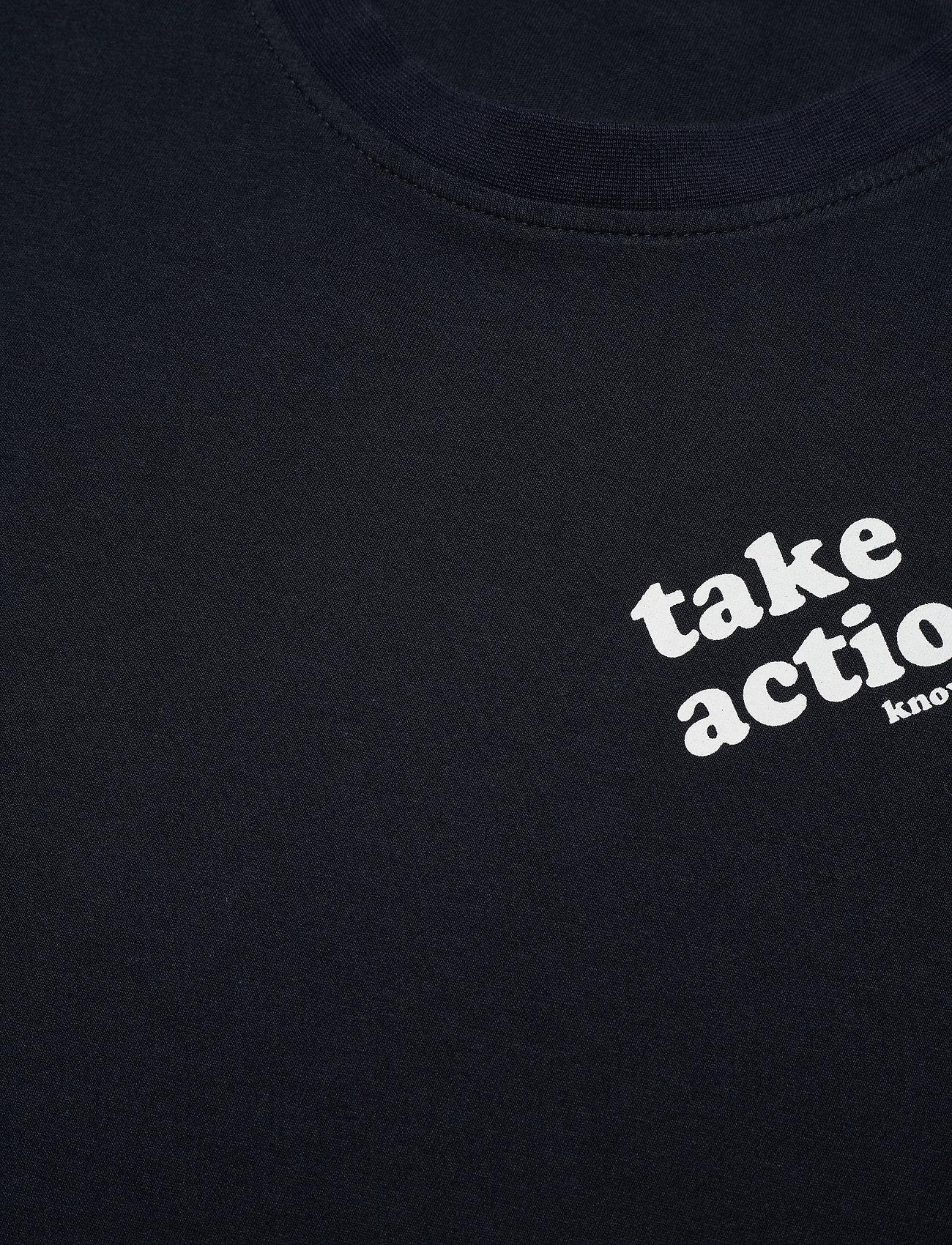 Knowledge Cotton Apparel O-neck t-shirt with chest print - G - T-skjorter TOTAL ECLIPSE - Menn Klær