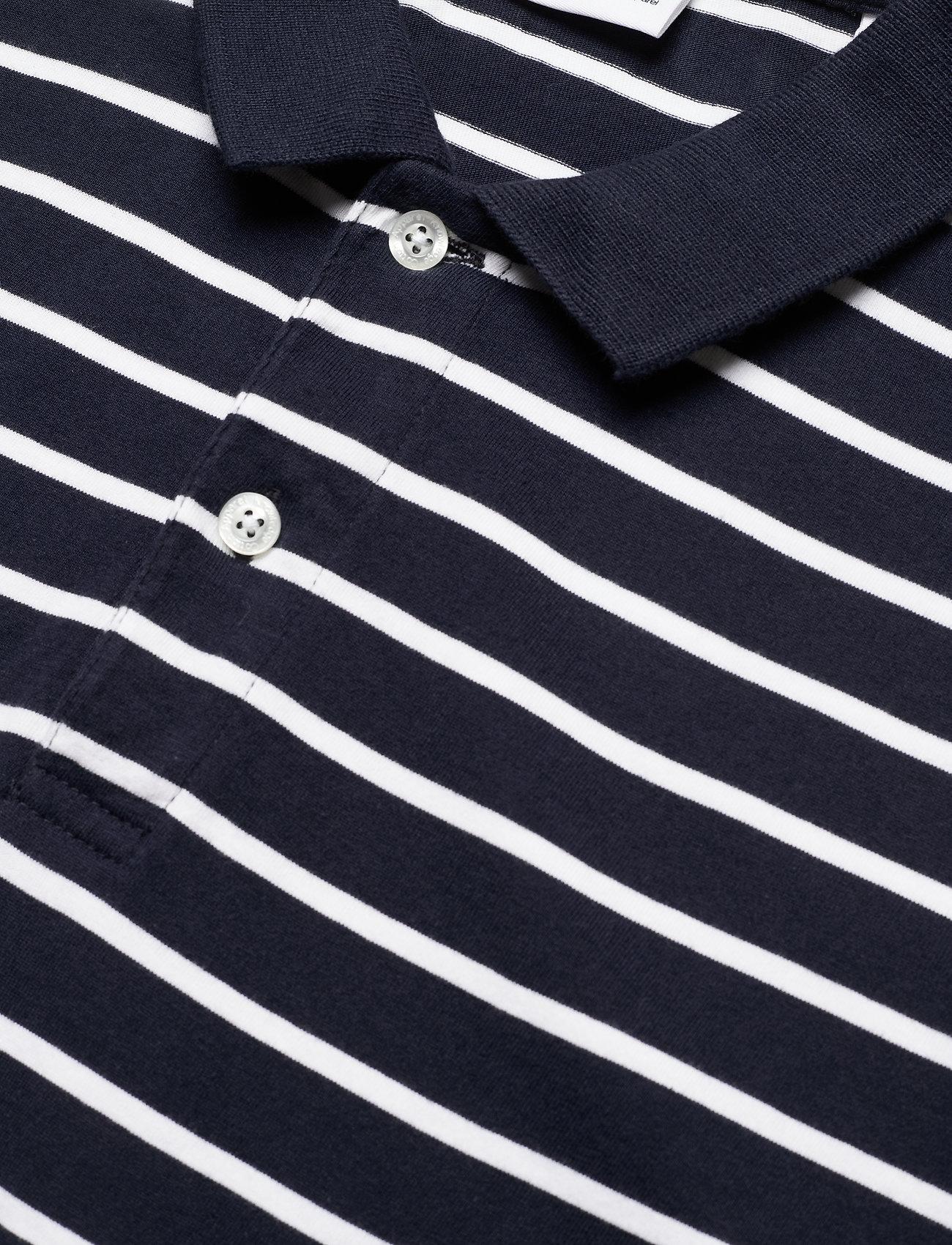 Knowledge Cotton Apparel ROWAN striped polo - GOTS/Vegan - Poloskjorter TOTAL ECLIPSE - Menn Klær