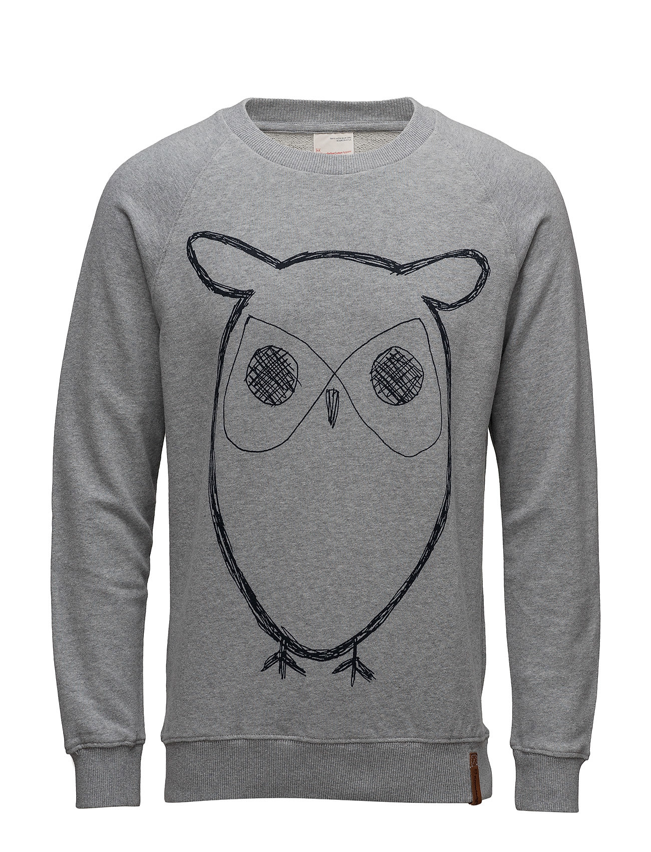 Knowledge Cotton Apparel Sweat Shirt With Owl Print - GOTS/V - GREY MELANGE