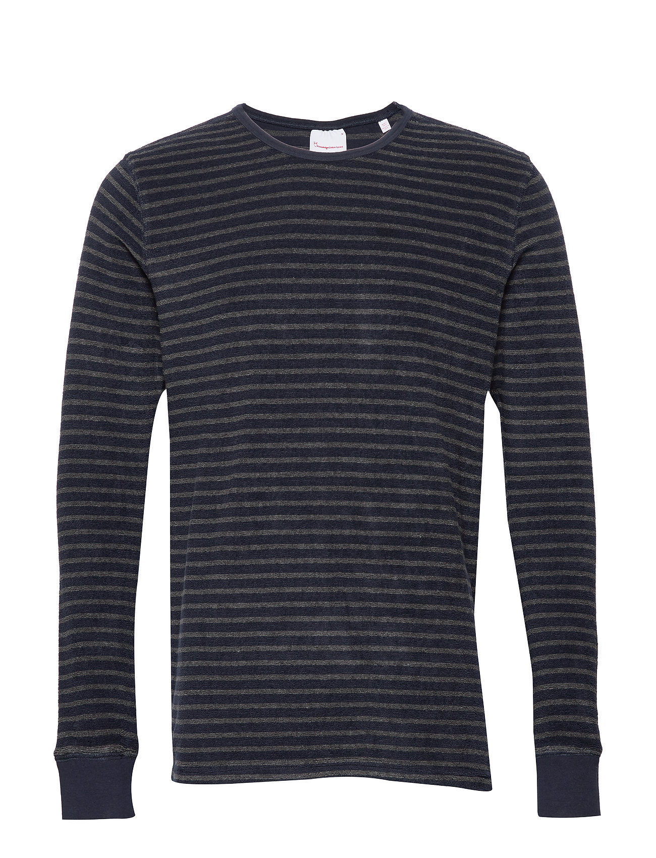Knowledge Cotton Apparel Striped velvet sweat - Vegan - DARK GREY MELANGE