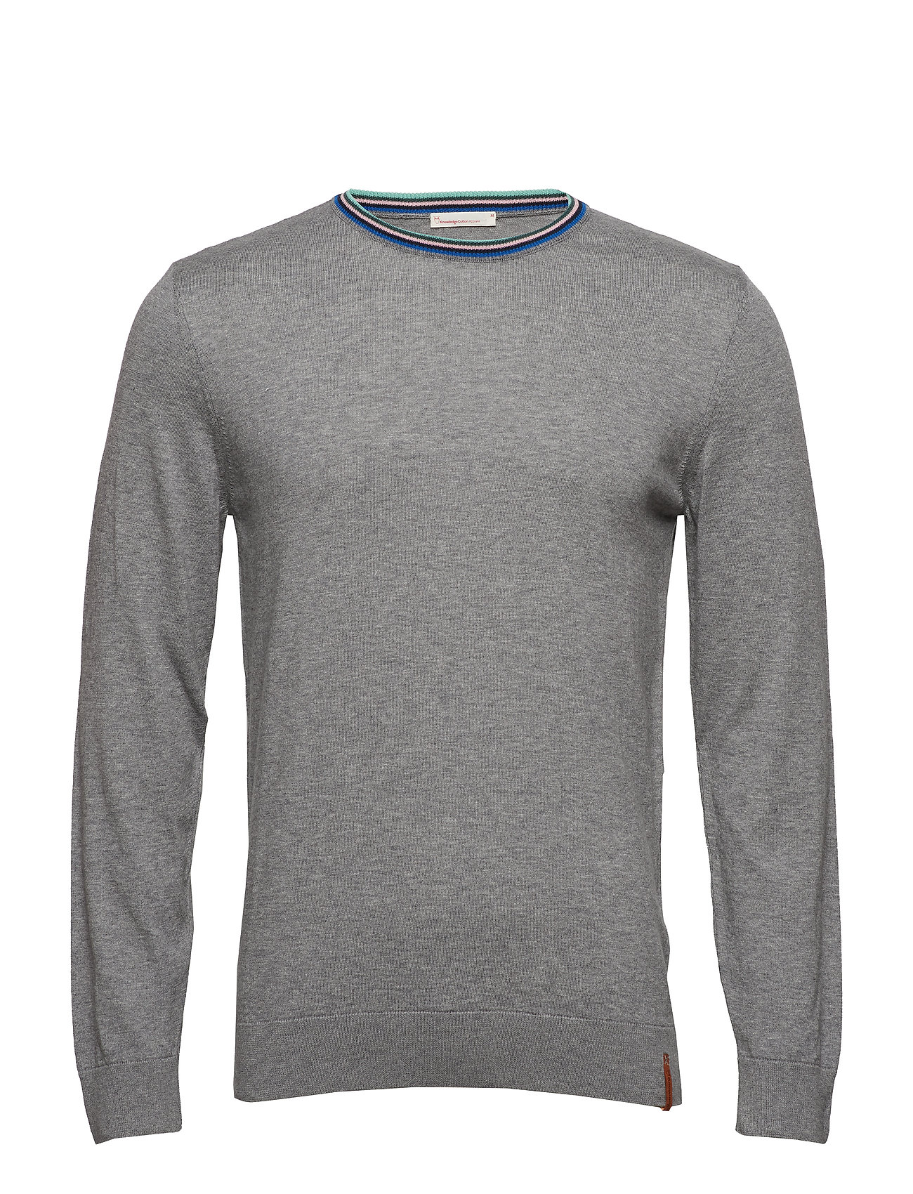 Knowledge Cotton Apparel O-neck knit light - contrast rib - - GREY MELANGE