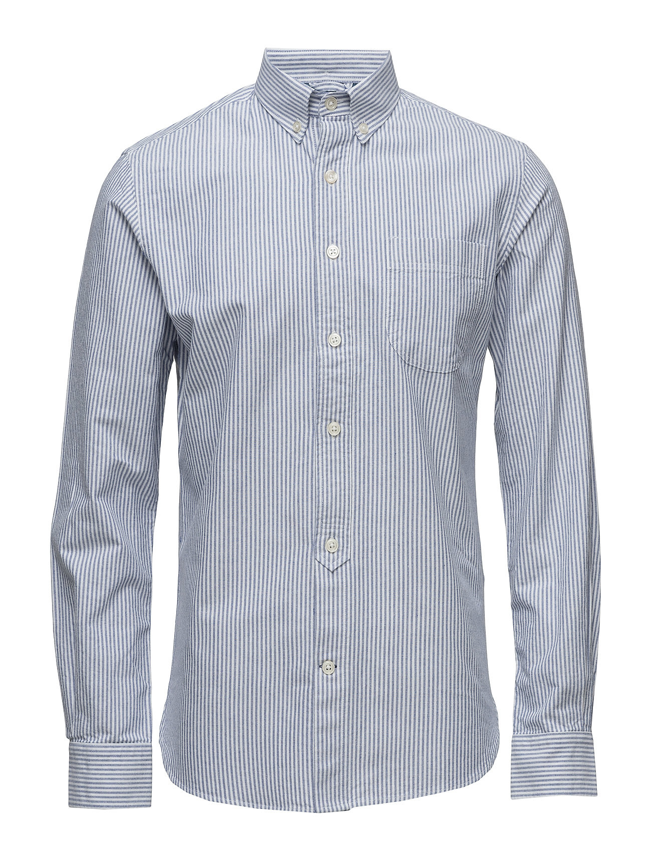 Knowledge Cotton Apparel Button Down Oxford Shirt Striped -