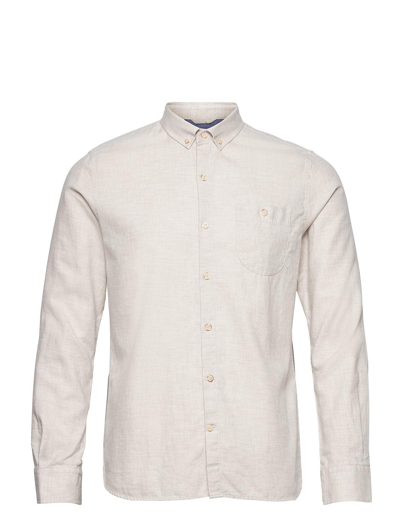 Knowledge Cotton Apparel Melange Effect Flannel Shirt - GOTS - GREIGE