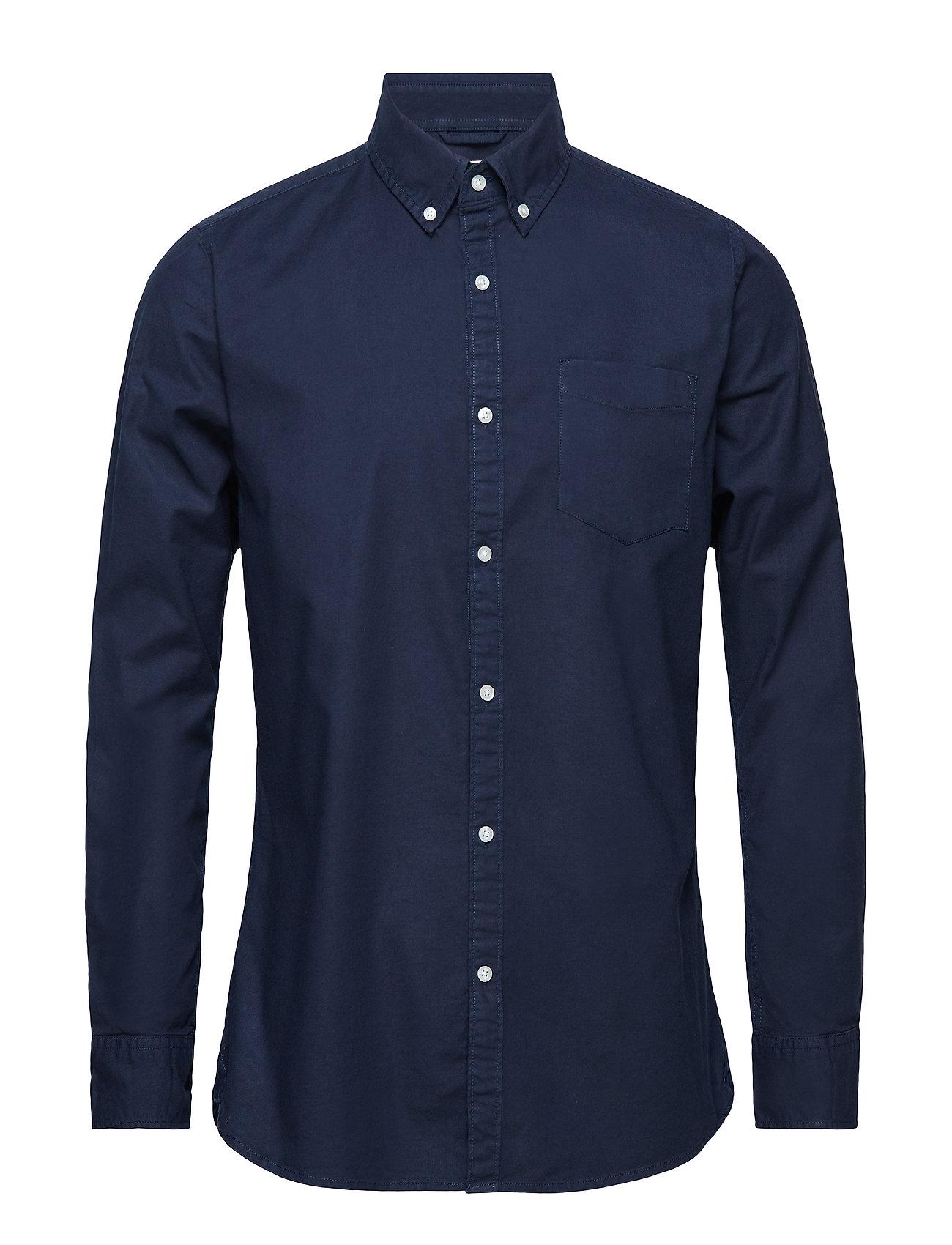 Knowledge Cotton Apparel ELDER LS oxford shirt - GOTS/Vegan - TOTAL ECLIPSE