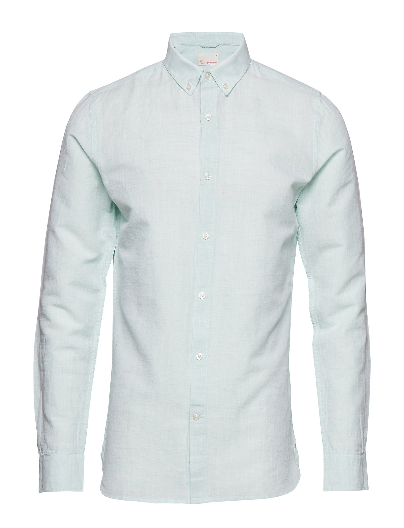 Knowledge Cotton Apparel Cotton linen long sleeved shirt - G - DUSTY JADE GREEN