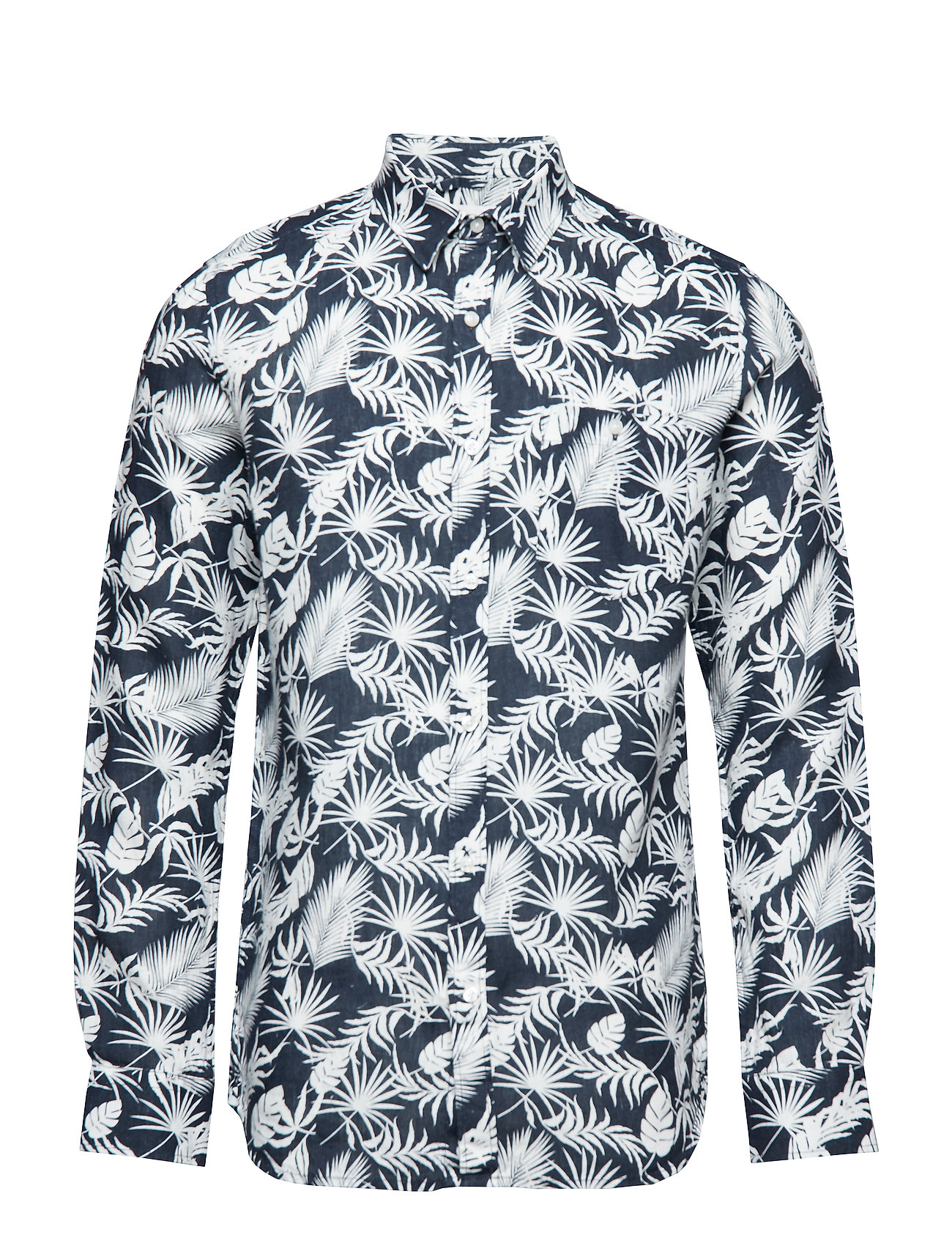 Knowledge Cotton Apparel Linen shirt with all over print/Veg - TOTAL ECLIPSE