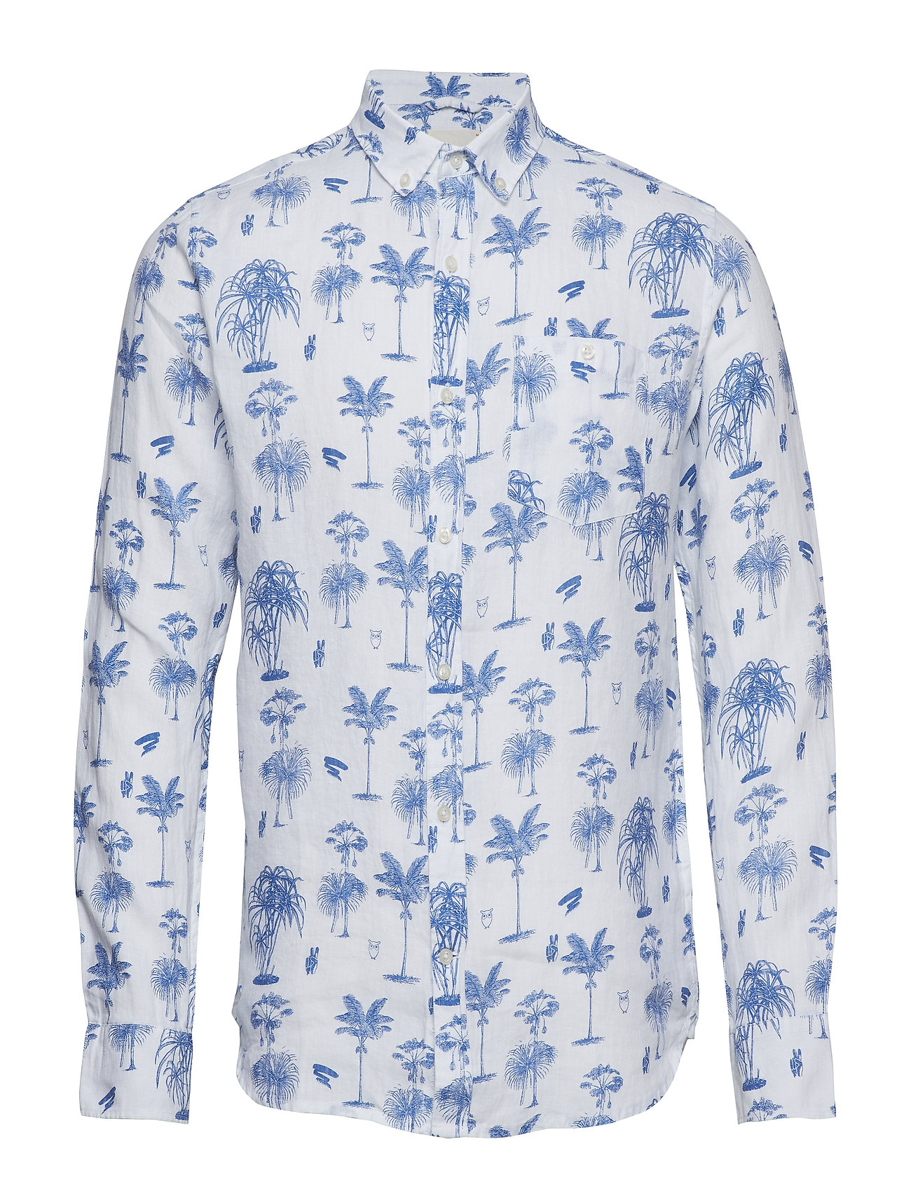 Knowledge Cotton Apparel Shirt with palm print - OLYMPIA BLUE