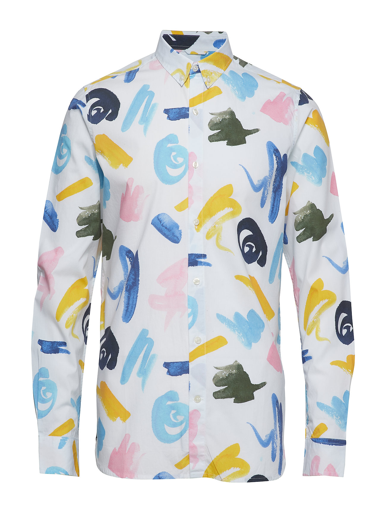 Knowledge Cotton Apparel Shirt with waterbased AOP - GOTS - BRIGHT WHITE
