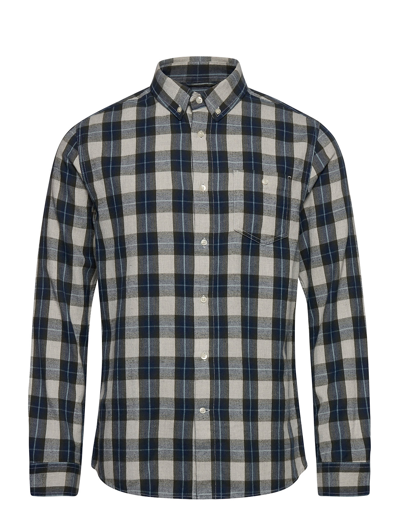 Image of Larch Casual Fit Small Checked Flan Skjorte Casual Blå Knowledge Cotton Apparel (3452223709)