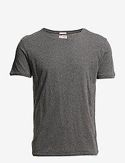 Knowledge Cotton Apparel - ALDER basic tee - GOTS/Vegan - kortærmede t-shirts - dark grey melange - 0