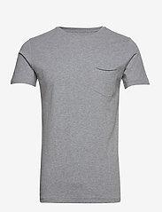 ALDER basic chest pocket tee - GOTS - GREY MELANGE