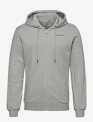 Knowledge Cotton Apparel - ELM knowledge transfer hood zip swe - basic sweatshirts - grey melange - 0