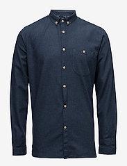 ELDER regular fit melange flannel s - ESTATE BLUE