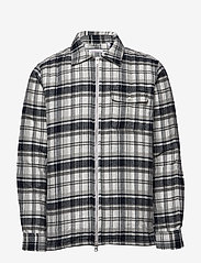 Knowledge Cotton Apparel - Quilted checked fannel overshirt - - overshirts - dark grey melange - 0