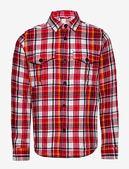 Knowledge Cotton Apparel - PINE LS checked overshirt - GOTS/Ve - overshirts - scarlet - 0