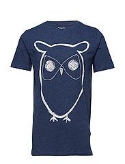 Single Jersey With Owl Print - GOTS - INSIGNA BLUE MELANGE