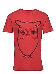 ALDER big owl tee - GOTS/Vegan - SCARLET MELANGE