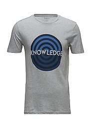 T-shirt with knowledge print - GOTS - GREY MELANGE