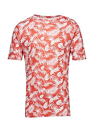Single Jersey Linen T-shirt with pr - SPICED CORAL