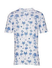 T-shirt with palm print - GOTS - OLYMPIA BLUE