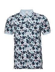 Polo with flower print - GOTS/Vegan - SKYWAY
