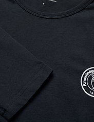 Knowledge Cotton Apparel - LOCUST owl badge long sleeve - GOTS - perus t-paidat - total eclipse - 2