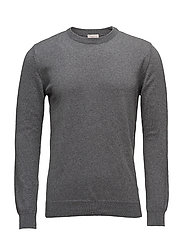 Basic O-Neck Cotton/Cashmere - GOTS - DARK GREY MELANGE
