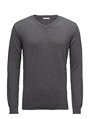Basic V-Neck Cotton/Cashmere - GOTS - DARK GREY MELANGE