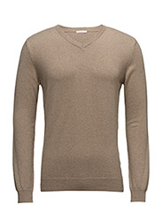 Basic V-Neck Cotton/Cashmere - GOTS - DESSERT SAND