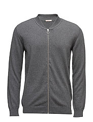 Cotton/Cashmere Cardigan- GOTS - DARK GREY MELANGE