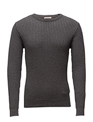 Cotton/Cashmere Cable Knit - GOTS - DARK GREY MELANGE