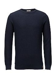 Textured crew neck knit  - GOTS - TOTAL ECLIPSE