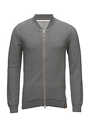 Two toned pique zip cardigan - GOTS - GREY MELANGE