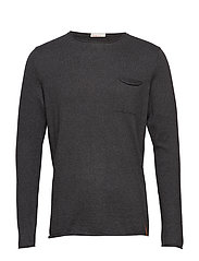 Fine single knit with roll edges - - DARK GREY MELANGE