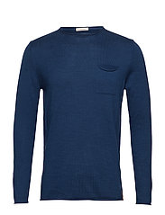 Fine single knit with roll edges - - INSIGNA BLUE