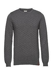 Crew neck knit - GOTS - DARK GREY MELANGE