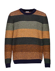 Multi colored striped o-neck knit - - GREEN FOREST