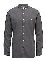 Melange Effect Flannel Shirt - GOTS - DARK GREY MELANGE