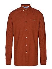 Melange Effect Flannel Shirt - GOTS - PERSIMMON ORANGE